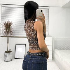 EMBROIDERY LEOPARD CROP TOP