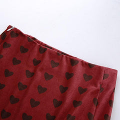 HEART PRINT SLIT SKIRT