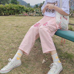 BEAR PLAID PATCH CASUAL PANTS