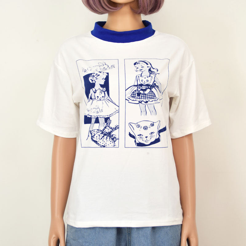 BLUE CAT RAISED NECK TOP