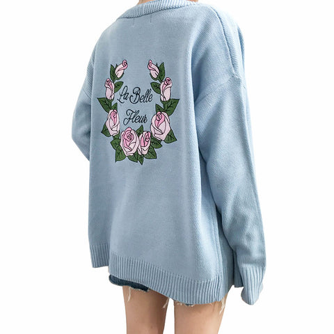 FLOWER CARDIGAN KNITTED
