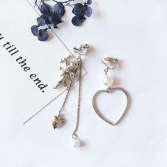 ASYMMETRIC HEART & CUPID EARRINGS (2pairs)