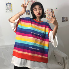 HARAJUKU STRIPED LOOSE TOP
