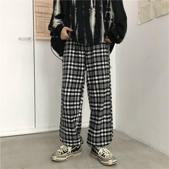 VINTAGE GRID WIDE LEG PANTS