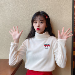 STRAWBERRY/CHERRY TURTLENECK TOP