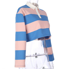 PINK-BLUE COLLARED CROP TOP