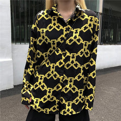 HARAJUKU CHAIN PRINT LONG SLEEVE SHIRT
