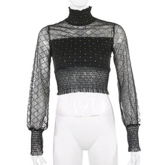 FASHION TURTLENECK MESH TOP