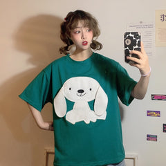 KAWAII CARTOON DOG EMBROIDERY T-SHIRT