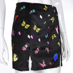 BUTTERFLY PRINT VELVET SPLIT SKIRT