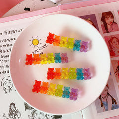 CANDY COLOR BEAR HAIR CLIP (2 PCS)