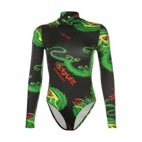 VINTAGE DRAGON PRINT LONG SLEEVE BODYSUIT