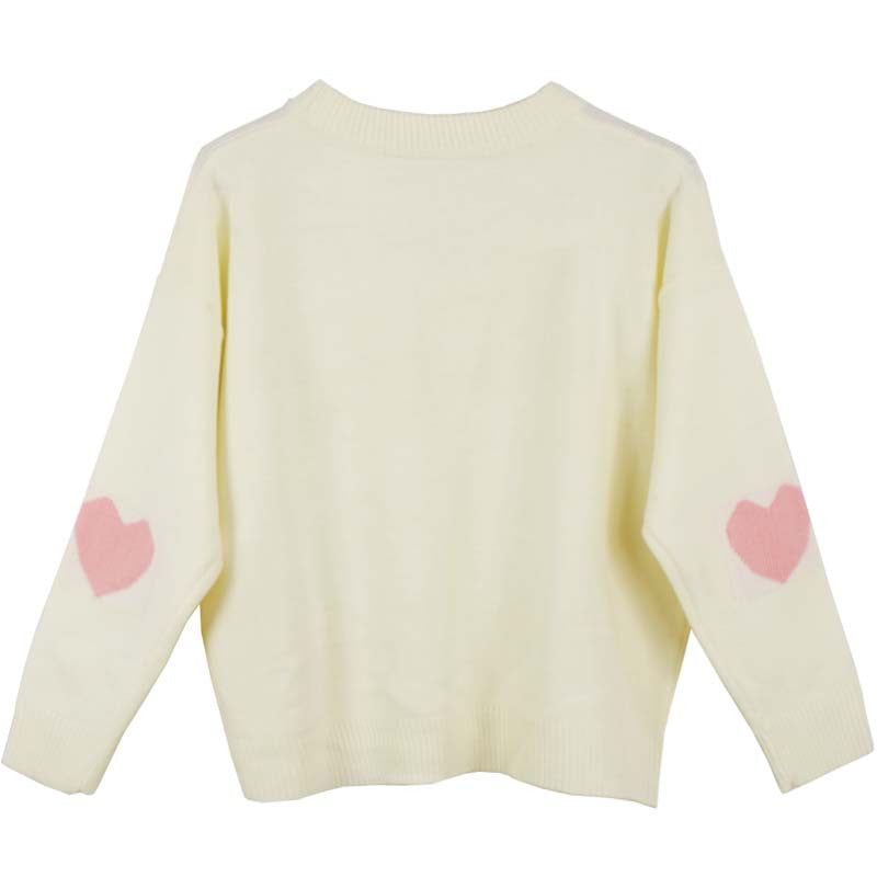 WHITE HEART SLEEVE KNITTED