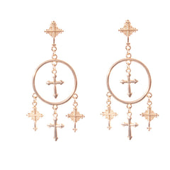 CROSS TASSEL EARRINGS