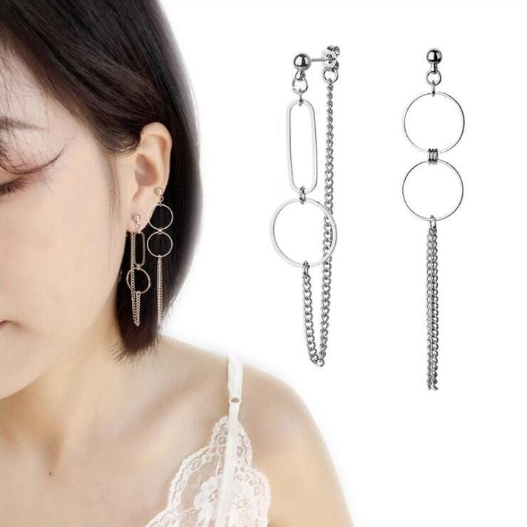 RING CHAIN EARRINGS (2pairs)