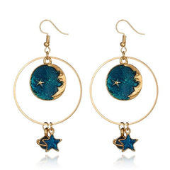 MOON STAR AROUND THE EARTH HOLLOW EARRINGS(2 pairs)