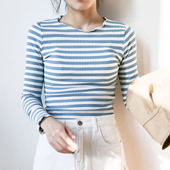 LONG SLEEVE STRIPED CROP TOPS