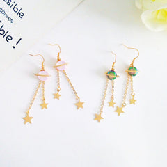 SPACE SATURN EARRINGS (PINK)