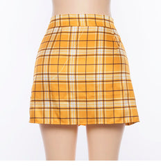 YELLOW GRID TENNIS SKIRT