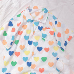 COLOR HEART PRINT SHIRT