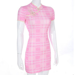 PINK PLAID CHINESE DRESS