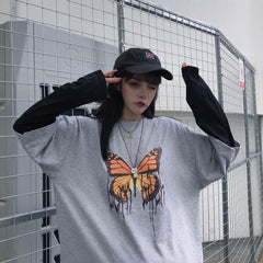 BUTTERFLY FAKE TWO-PIECE LONG SLEEVE T-SHIRT
