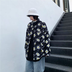 HARAJUKU DAISY PRINT LONG SLEEVE SHIRT