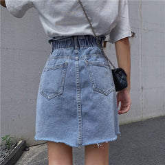 RUFFLED HIGH WAIST DENIM SKIRT