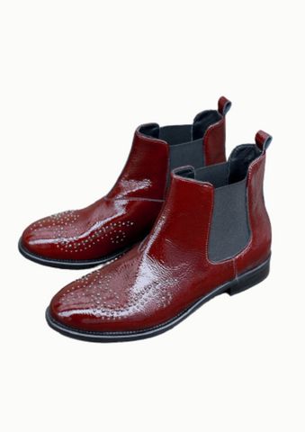Lilian Burgundy Patent Boots