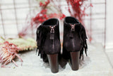 Fringed suede black ankle boots. Made in Italy. 100% Leather.