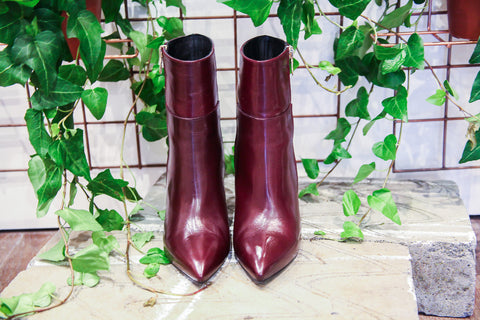 Vittoria Burgundy Ankle Boots