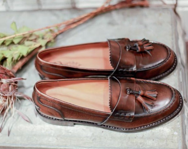 BELLA BROWN - Made in Italy Leather Loafers Shoes from Portamento