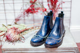 CCARLOTTA chelsea boots in blue leather and silver studs. Made in Italy by Portamento. 100% Leather.