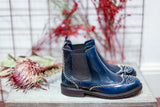 CARLOTTA chelsea boots in blue leather and silver studs. Made in Italy by Portamento. 100% Leather.