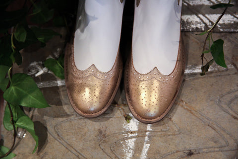 Fantasma D'Amore White And Gold Ankle Boots