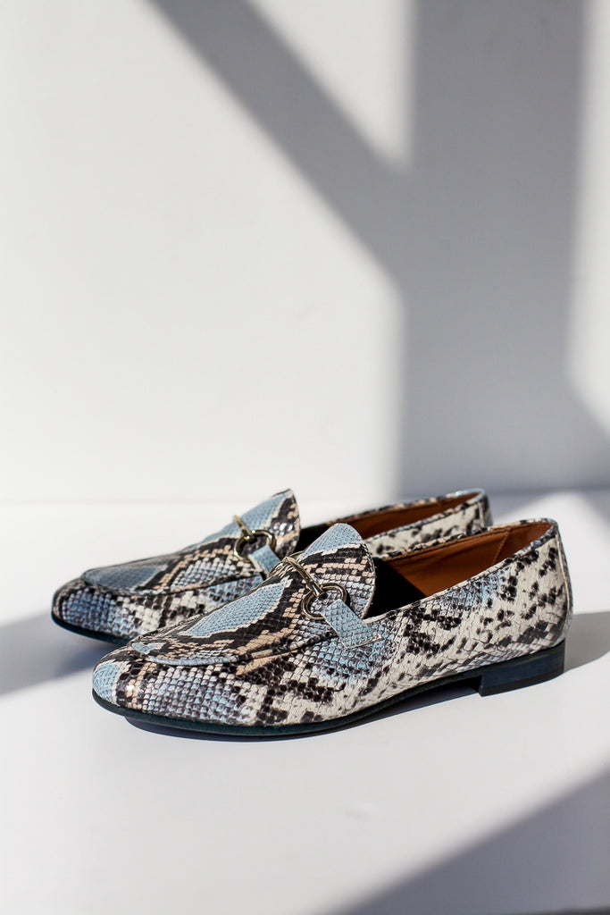 Lea Blue Snake Loafers