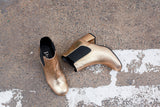Portamento ankle boots in gold leather. Made in Italy