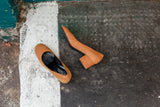 Portamento Grace shoes in Mustard suede. Made in Italy.