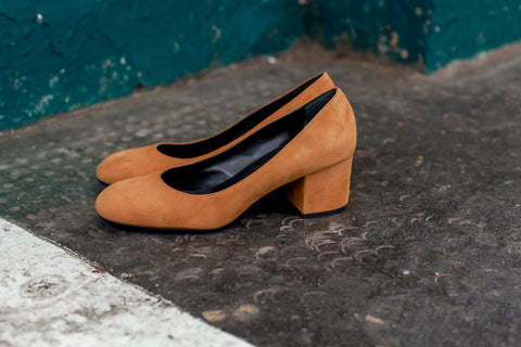 Grace Mustard Suede Pumps