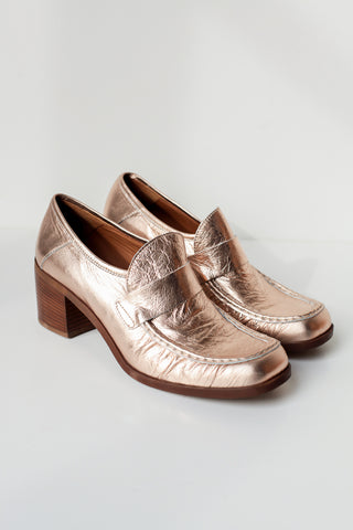 Kim Rose Gold Leather Loafers