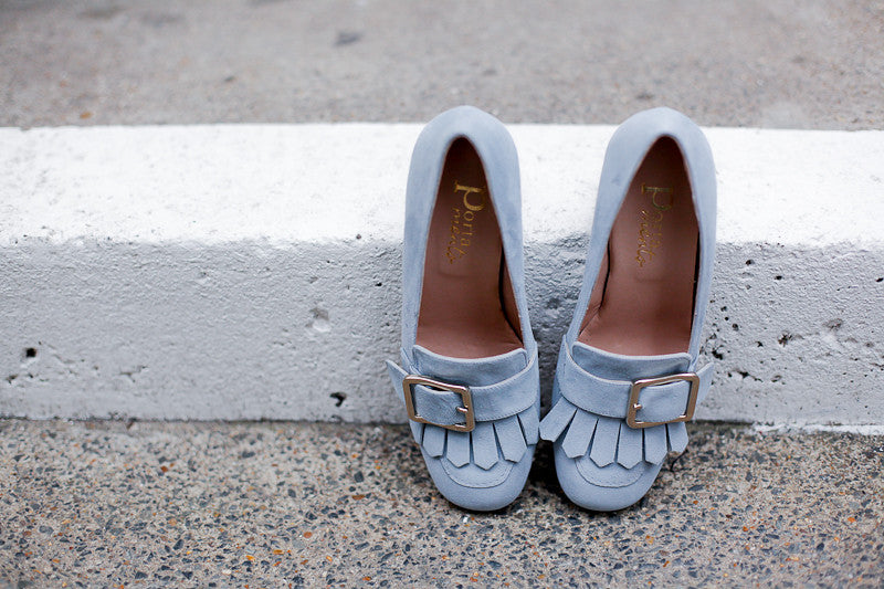 Paola Light Suede Blue Loafers
