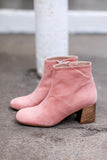 Molly Pink Gold Suede Ankle Boots