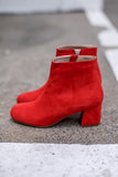 Molly Red Suede Ankle Boots