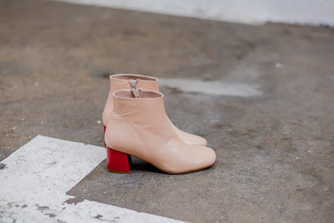 Molly Pink Red Ankle Boots
