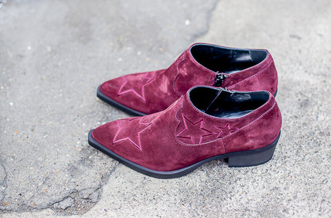 Vicky Texan Burgundy Suede Boots