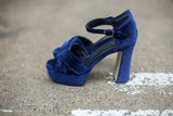 Portamento Blue Velvet Platfrom Sandals - Made in Italy