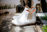 Fantasma d'amore. Made in Italy White Leather Boots from Portamento