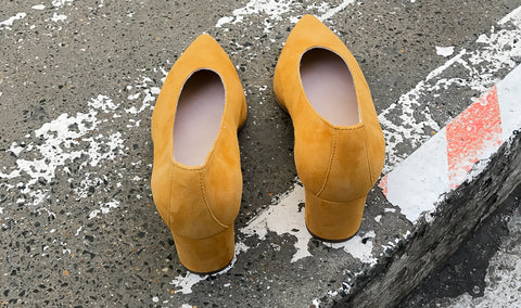 Guen Yellow Mustard Suede Pumps