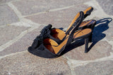 Portamento black suede sandals with flower detailing at front, made in Italy.