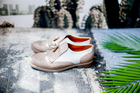 Primo Amore Taupe/White Brogues